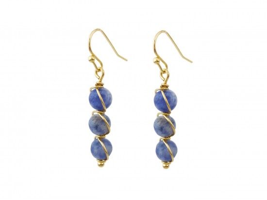 Blue 3 Natural Stone Hook Earrings