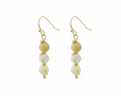 Green 3 Natural Stone Hook Earrings