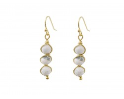 White 3 Natural Stone Hook Earrings