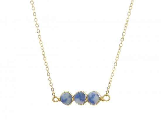 Blue 3 Natural Stone Necklace