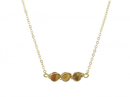Brown 3 Natural Stone Necklace