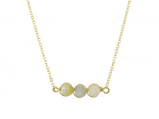 Green 3 Natural Stone Necklace