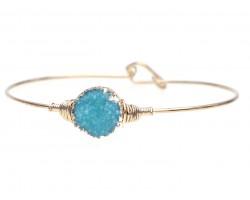 Aqua Druzy Stone Wire Wrap Hook Bracelet