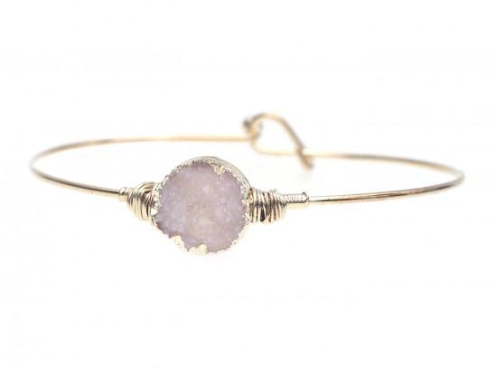 Beige Druzy Stone Wire Wrap Hook Bracelet