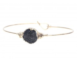 Black Druzy Stone Wire Wrap Hook Bracelet