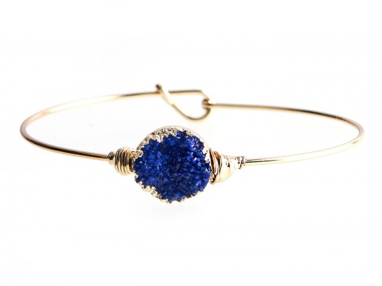 Blue Druzy Stone Wire Wrap Hook Bracelet