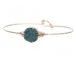 Green Druzy Stone Wire Wrap Hook Bracelet