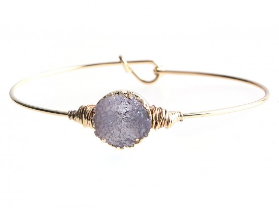 Gray Druzy Stone Wire Wrap Hook Bracelet