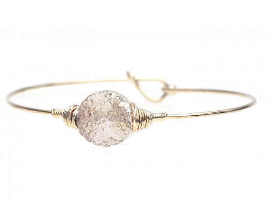 Brown Druzy Stone Wire Wrap Hook Bracelet