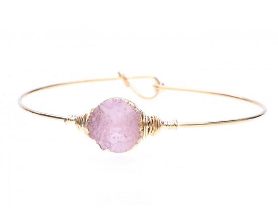 Pink Druzy Stone Wire Wrap Hook Bracelet