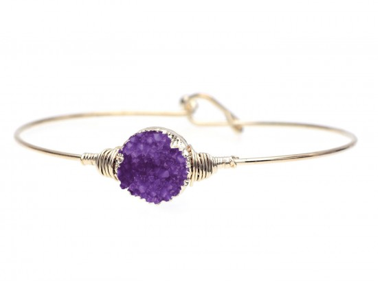 Purple Druzy Stone Wire Wrap Hook Bracelet