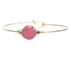 Red Druzy Stone Wire Wrap Hook Bracelet