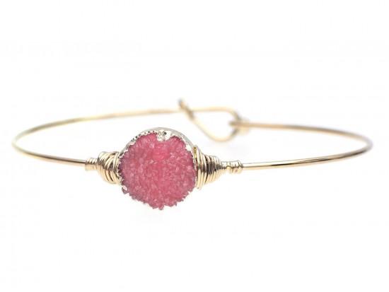 Red Druzy Stone Wire Wrap Hook Bracelet