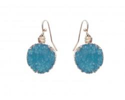 Aqua Druzy Stone Wire Wrap Hook Earrings