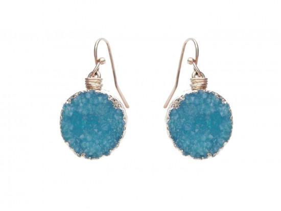 Aqua Druzy Stone Wire Wrap Hook Earrings
