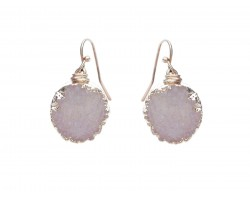 Beige Druzy Stone Wire Wrap Hook Earrings
