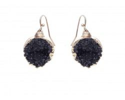 Black Druzy Stone Wire Wrap Hook Earrings