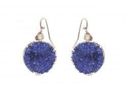 Blue Druzy Stone Wire Wrap Hook Earrings