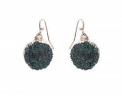 Green Druzy Stone Wire Wrap Hook Earrings