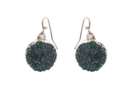 Green Druzy Stone Wire Wrap Hook Earrings