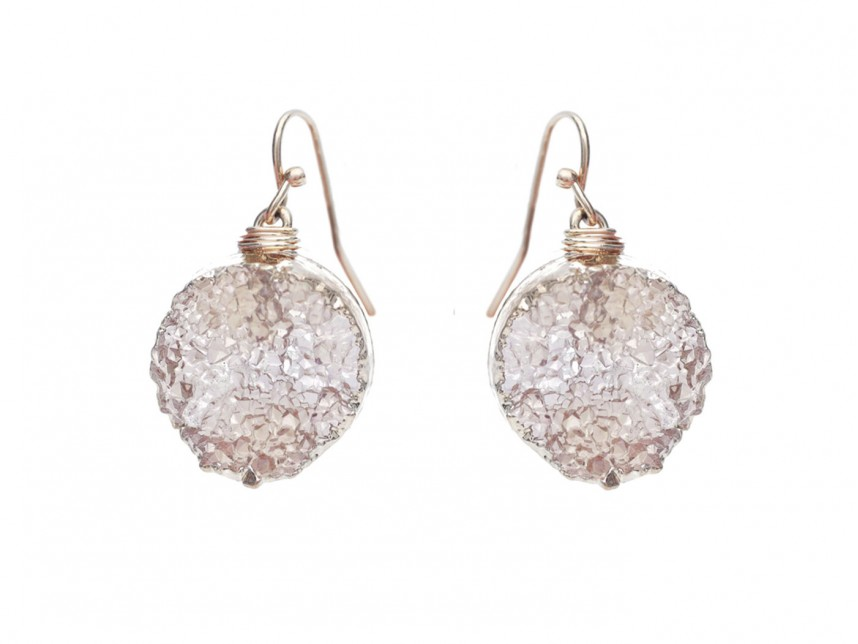 Brown Druzy Stone Wire Wrap Hook Earrings - RM30347LCT