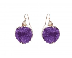 Purple Druzy Stone Wire Wrap Hook Earrings