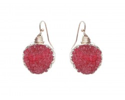 Red Druzy Stone Wire Wrap Hook Earrings