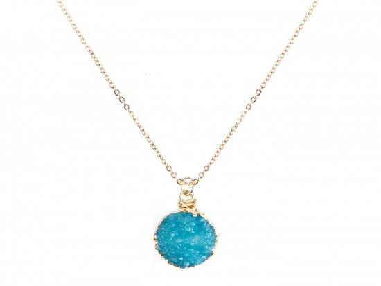 Aqua Druzy Stone Wire Wrap Necklace