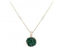Green Druzy Stone Wire Wrap Necklace
