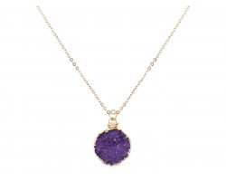 Purple Druzy Stone Wire Wrap Necklace