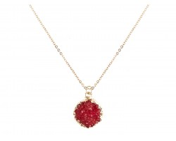 Red Druzy Stone Wire Wrap Necklace