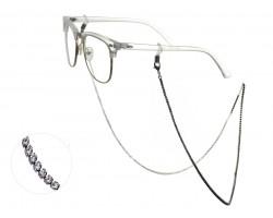 GunMetal Clear Crystal Eyeglasses Strap