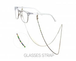 Gold Mardi Gras Crystal Eye Glasses Strap
