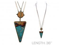 Turquoise Stone Triangle Wood Pendant Long Necklace