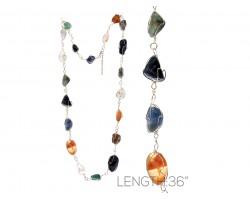 Multi Color Natural Stone Wire Wrap Necklace