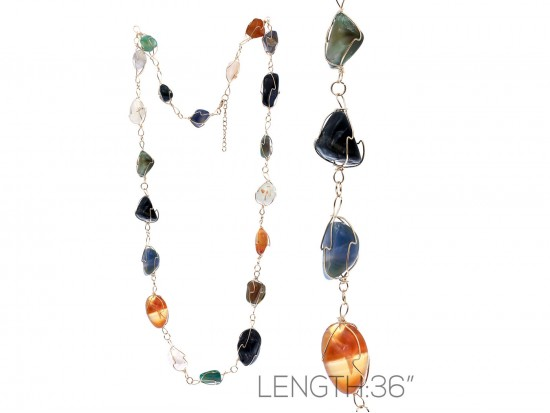 Multi Color Natural Stone Wire Wrap Necklace