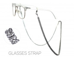 Gunmetal Clear Crystal 3mm 2 Row Eyeglass Strap