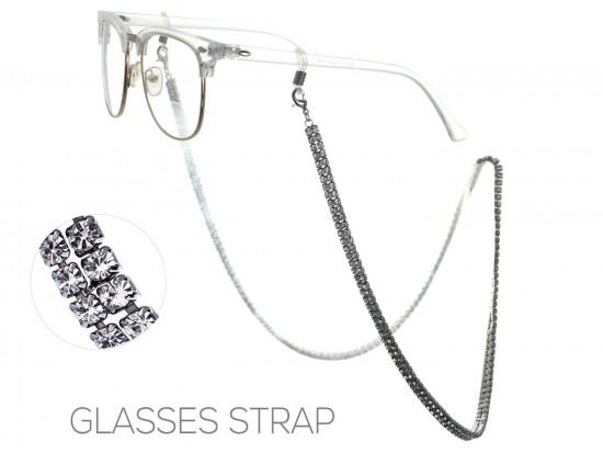 Gunmetal Clear Crystal 3mm 2 Row Eyeglass Strap