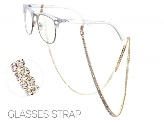 Gold Clear Crystal 3mm 2 Row Eyeglass Strap