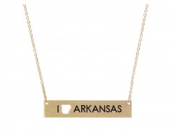 Gold Arkansas State Map Open Cut Bar Necklace