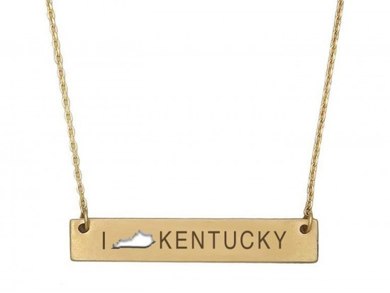 Gold Kentucky State Map Open Cut Bar Necklace