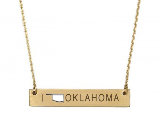 Gold Oklahoma State Map Open Cut Bar Necklace