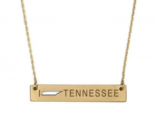 Gold Tennessee State Map Open Cut Bar Necklace