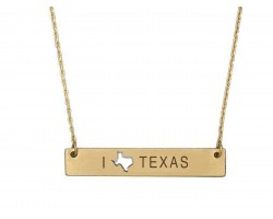 Gold Texas State Map Open Cut Bar Necklace