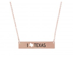 Rose Gold Texas State Map Open Cut Bar Necklace