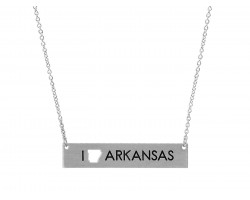 Silver Arkansas State Map Open Cut Bar Necklace