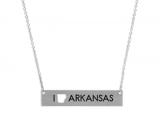 Silver Arkansas State Map Open Cut Bar Necklace