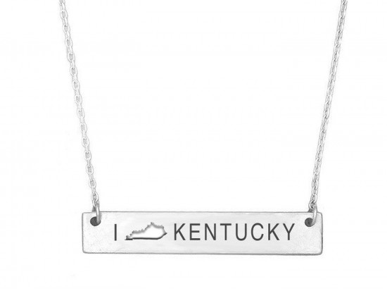 Silver Kentucky State Map Open Cut Bar Necklace