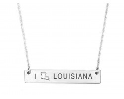 Silver Louisiana State Map Open Cut Bar Necklace