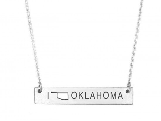 Silver Oklahoma State Map Open Cut Bar Necklace